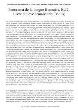 Panorama de la langue francaise, Bd.2, Livre d eleve Jean