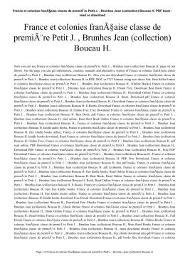 France et colonies française classe de première Petit J. , Brunhes