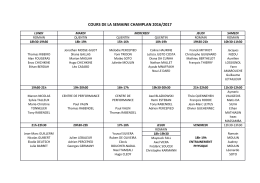 Planning des cours