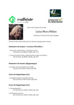 Enseignements de Luisa Mora Millan