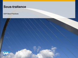 Sous-traitance - SAP Best Practices