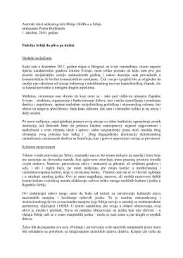 Autorski tekst odlazećeg šefa Misije OEBS
