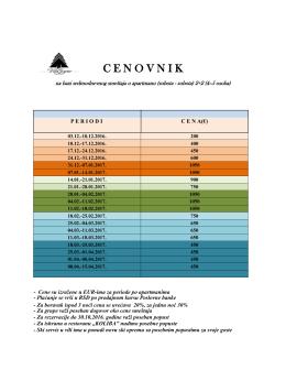 Cenovnik 2016/2017