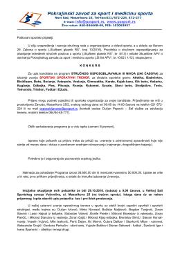 Pokrajinski zavod za sport u Novom Sadu je stručno