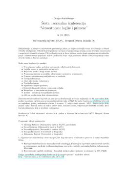 """Šesta nacionalna konferencija """"Verovatnosne logike i primene"""""""
