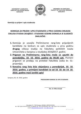 zaključci komisije - Sarajevo