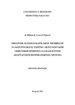 odgovor alveolo-kapilarne membrane na kontinuiranu