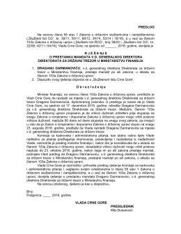 PREDLOG Na osnovu člana 55 stav 1 Zakona o državnim