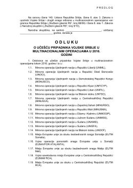 Predlog odluke o učešću pripadnika Vojske Srbije u
