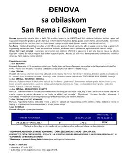 ĐENOVA sa obilaskom San Rema i Cinque Terre
