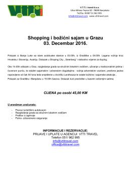 Shopping i božićni sajam u Grazu 03. Decembar 2016.