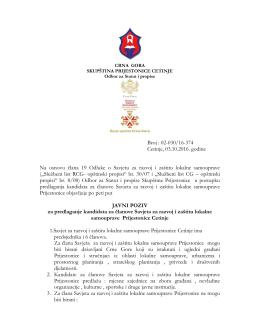 Javni poziv za predlaganje kandidata za članove Savjeta za razvoj i