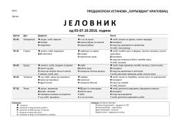 """јеловник- 03.10 - предшколска установа """"ђурђевдан"""""""