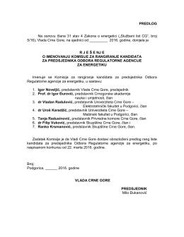 PREDLOG Na osnovu člana 31 stav 4 Zakona o