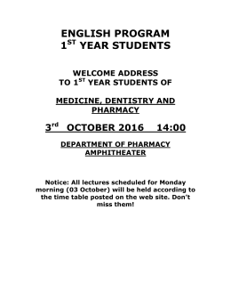 svečani čas za studente prve godine medicine, stomatologije i