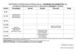 raspored održavanja predavanja u sedmom (vii) semestru na