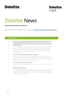 Deloitte News September 2016 Novinky z priamych a nepriamych