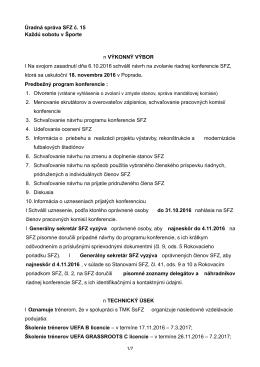 Úradná správa SFZ č - Slovenský futbalový zväz