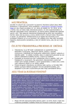 Kompletná informácia o víkendovke NKZ BA v októbri 2016