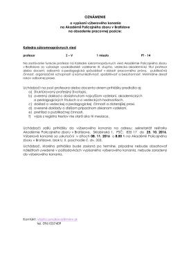 oznámenie - Akadémia Policajného zboru v Bratislave