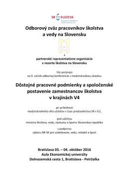 Pozvánka na 9. odbornú konferenciu s medzinárodnou účasťou