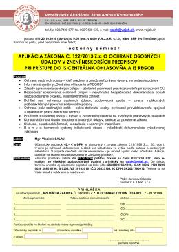 APLIKÁCIA ZÁKONA Č. 122/2013 Zz O OCHRANE