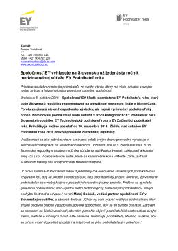 Spoločnosť EY vyhlasuje na Slovensku už jedenásty ročník