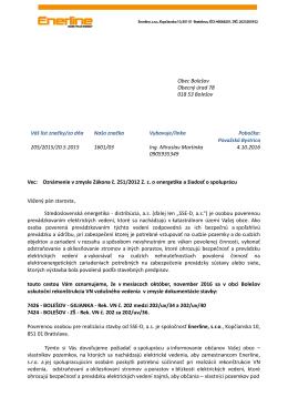 Oznámenie o prácach OU Bolešov.