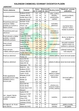kalendár chemickej ochrany - Centrum rozvoja záhradníctva, spol. s ro