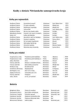 PDF Knihy z dotácie Nitrianskeho samosprávneho kraja