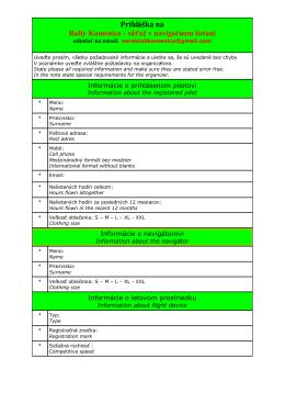 Prihlášku na navigačnú súťaž si stiahni TU - SLA