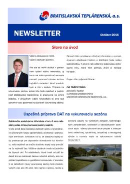 newsletter - Bratislavská teplárenská, as