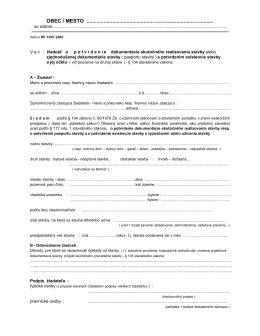 Žiadosť o potvrdenie dokumentácie skutočného