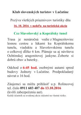 Klub slovenských turistov v Lučatíne Pozýva všetkých priaznivcov
