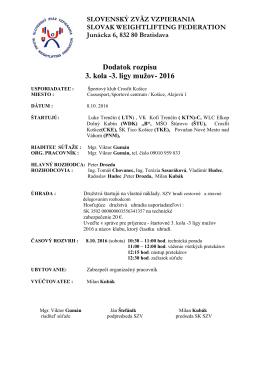 Dodatok rozpisu 3. kola- 3 ligy mužov 2016