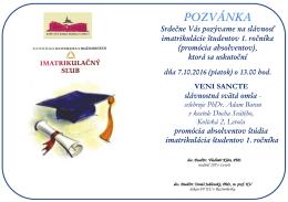 Pozvánka VENI SANCTE - imatrikulácie študentov 1. ročníka