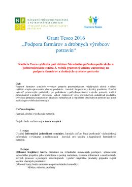 """Grant Tesco 2016 """"Podpora farmárov a drobných výrobcov"""