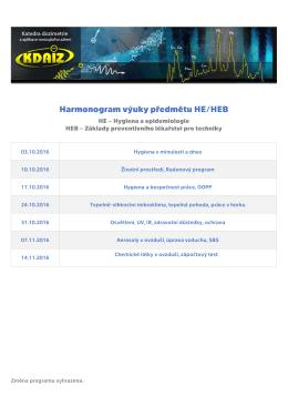 Harmonogram výuky předmětu HE/HEB