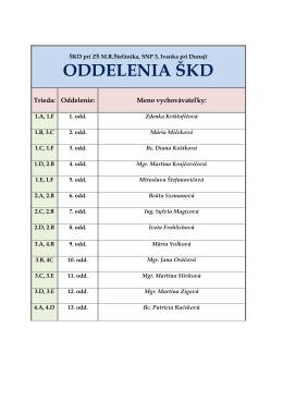 oddelenia škd - ZŠ MR Štefánika v Ivanke pri Dunaji