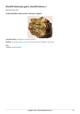 Disulfid železnatý (pyrit, disulfid železa)