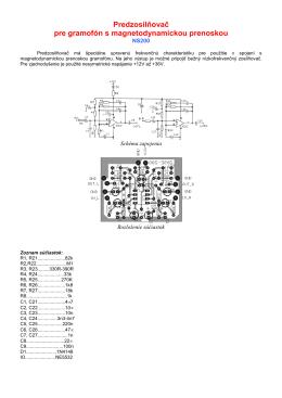 Predzosilňovač pre gramofón s magnetodynamickou prenoskou