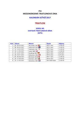 itu medzinárodná triatlonová únia kalendár súťaží 2017