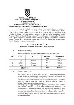 Javni natječaj za prodaju nekretnina u vlasništvu Općine Podgorač