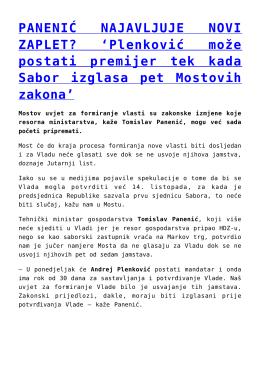 Plenković može postati premijer tek kada Sabor izglasa
