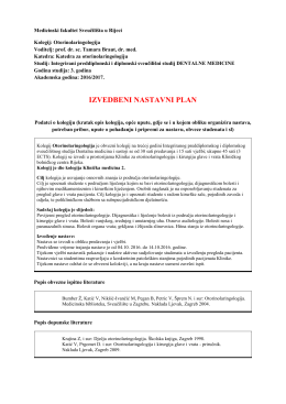 Otorinolaringologija - Medicinski fakultet u Rijeci