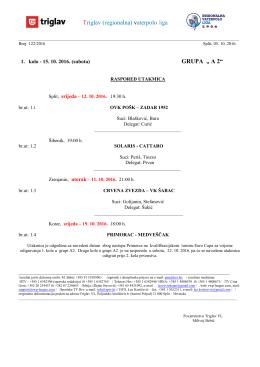 1. kolo - Regionalna vaterpolo liga