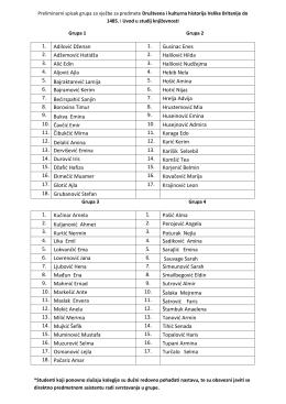 Preliminarni spisak grupa