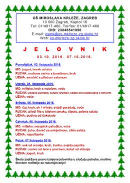 03.10. 2016 – 07.10.2016. - Osnovna škola Miroslava Krleže Zagreb