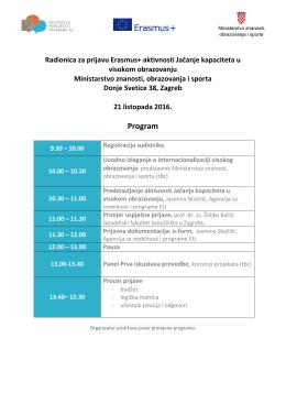 Radionica - Erasmus+ aktivnosti Jačanje kapaciteta u visokom