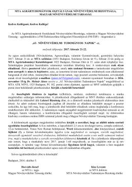 Felhívás a 63. Növényvédelmi Tudományos Napok Konferencia